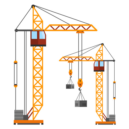 Industrial construction cranes flat style vector silhouettes. Flat crane under construction illustration isolated on white background
