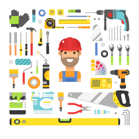 Construction equipment tools flat icons set. Flat style vector illustrations under construction. Tools like hammer, drill, ruler, repair and saw vector objects