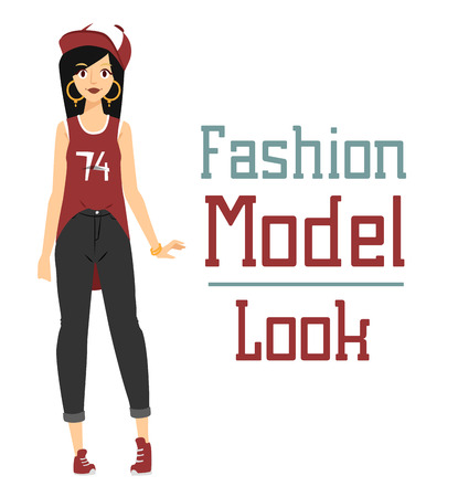 nude woman standing: Beautiful vector cartoon fashion girl model constructor  look standing over white background. Cartoon fashion young nude woman. Modern beauty looks. Some modern everyday clothes icons