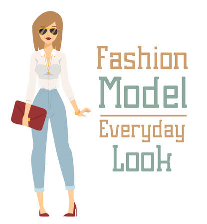 girl happy: Beautiful vector cartoon fashion girl model constructor  look standing over white background. Cartoon fashion young nude woman. Modern beauty looks. Some modern everyday clothes icons