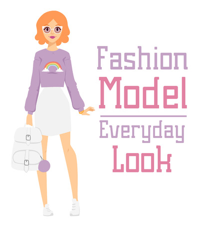 looks: Beautiful vector cartoon fashion girl model constructor  look standing over white background. Cartoon fashion young nude woman. Modern beauty looks. Some modern everyday clothes icons