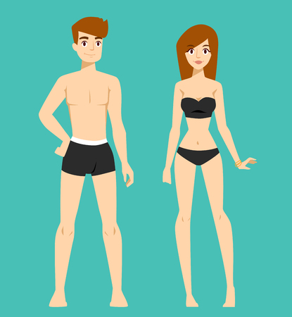 young girl nude: Beautiful vector cartoon nude couple fashion without clothes models look standing over background. Cartoon fashion people young couple. Modern beauty  couple model Illustration