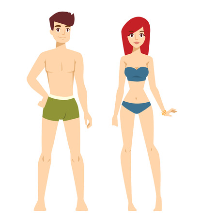 nude girl young: Beautiful vector cartoon nude couple fashion without clothes models look standing over background. Cartoon fashion people young couple. Modern beauty  couple model Illustration