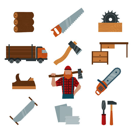 lumber: Lumberjack cartoon character with lumberjack tools icons vector illustration. Lumberjack isolated on white background. Lumber axe, wood truck, woodcutter