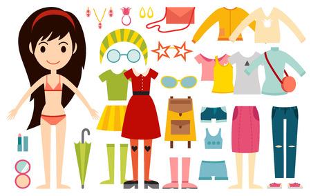 nene y nena: Hermosa modelo de chica de moda constructor de dibujos animados vector de mira de pie sobre fondo blanco. dibujos animados de moda joven mujer desnuda. belleza moderna se ve. Algunos iconos modernos ropa de diario
