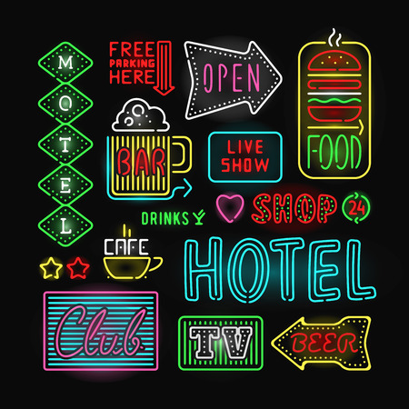 Light neon labels vector illustration. Neon labels font decorative symbols. Night neon light bright symbol. Neon symbols, neon light, neon bright. Lighting neon text objects Illustration