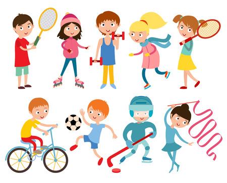 hockey cesped: Los niños pequeños portsmens aislados en blanco ilustración vectorial. Los niños deporte. De ruedas, patines y gimnasia. Vector niño de gimnasia, pesas, pesas y corriendo, niños en el deporte, los futuros ganadores después de la escuela deportiva