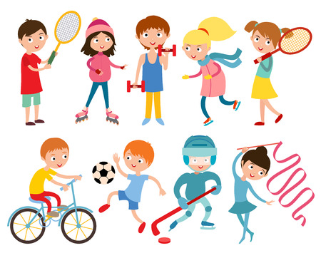 Young kids portsmens isolated on white vector illustration. Children sport. Roller, skates and gymnastics.  Vector kid gym, weights, dumbbells and running, Kids in sport, future winners after sport school Vectores