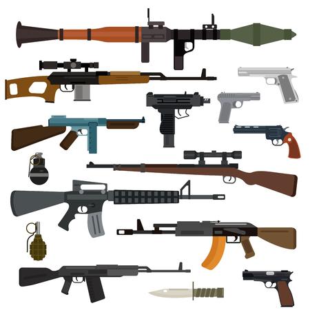 Armas vector colección de armas de fuego. Pistolas, metralletas, rifles de asalto, rifles de francotirador, un cuchillo, granada iconos vectoriales. Ilustración del arma del vector aislado en el fondo blanco
