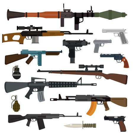 gun shot: Weapons vector guns collection. Pistols, submachine guns, assault rifles, sniper rifles, knife, grenade vector icons. Vector gun illustration isolated on white background