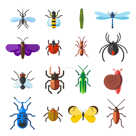 Insect icon flat set isolated on white background. Insects flat icons vector illustration. Nature flying insects isolated icons. Ladybird, butterfly, beetle vector ant. Vector insects Ilustração