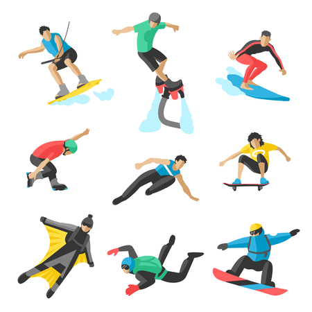 acrobatics: Extreme sport vector people. Parasailing, wakeboard, snowboard, rocker, snowboards, flybord, parkour, extreme, flying, man, bat, acrobatics, aerial, skyserfing, wingsuit extreme sport Illustration