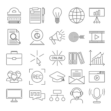 business education: Vector business webinar and online education outline icons. Online education flat icons concepts illustration. Internet trainings and webinars outline icons. Online education, business courses, webinar, school, teamwork