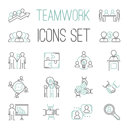 Business teamwork teambuilding outline icons. Business, team work, command management and human resources