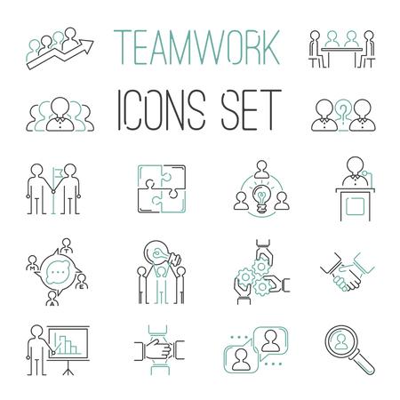 Lavoro di team building icone contorno. risorse, lavoro di gruppo, gestione dei comandi e umane