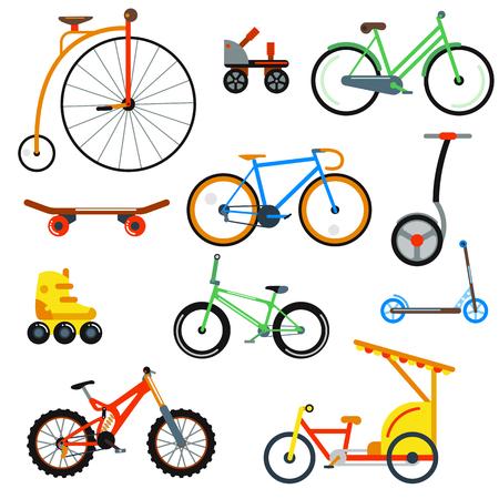 bicicleta: estilo plano de la bicicleta aislado en el fondo blanco ilustración vectorial. colección de bicicletas diferente. bicicleta calle, bicicleta de montaña, bicicleta de carretera rápida. El deporte y el transporte respetuoso del medio ambiente todos los días Vectores