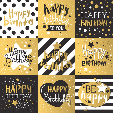 cards design: Beautiful birthday invitation cards design gold and black colors. Birthday vector greeting card decoration. Gold, black strips, lettering. Calligraphy text for Birthday party