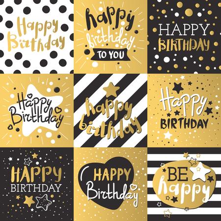 Hermosa invitación de cumpleaños tarjetas de oro de diseño y los colores negros. vector de la decoración de cumpleaños tarjeta de felicitación. Oro, tiras negras, las letras. el texto de la caligrafía para la fiesta de cumpleaños