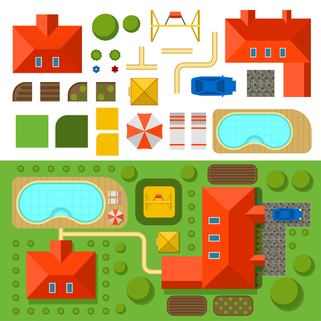car garden: Plan of private house with garden, pool and car vector illustration. Top view of outdoor house. Landscape. Villa house top map. Constructor design elements vector. Game background elements Illustration