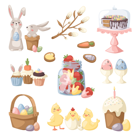 willow fruit basket: Easter holiday vector illustration. Eggs basket, rabbit bunny kids, chiken yellow baby and holiday sweets food. Easter sign and symbols. Tradional Easter vector illustration