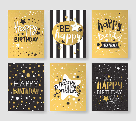 cartoon strip: Beautiful birthday invitation cards design gold and black colors. Birthday vector greeting card decoration. Gold, black strips, lettering. Calligraphy text for Birthday party