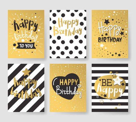 Beautiful birthday invitation cards design gold and black colors. Birthday vector greeting card decoration. Gold, black strips, lettering. Calligraphy text for Birthday party