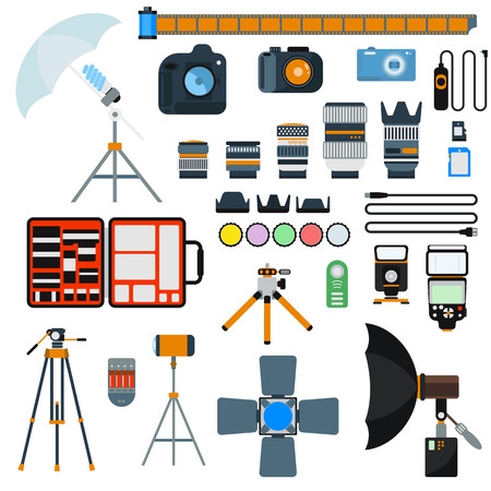 photo tools: Photo icons vector collection. Photo studio flat vector equipment. Photo symbols isolated on white background. Flat style photo tools