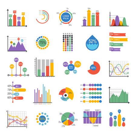 Business data graph analytics vector elements. Bar pie charts diagrams and graphs flat icons set. Infographics data analytics design elements isolated on white vector illustration Vettoriali