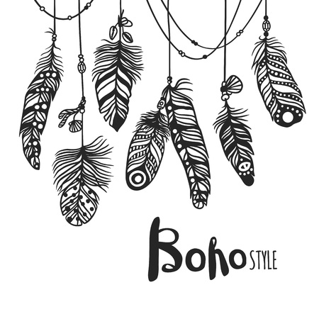 Boho feather hand drawn effect vector style illustration. Vector illustration of black boho feather. Boho indian feathers