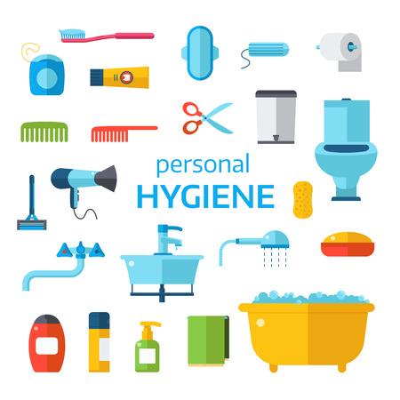 de higiene: Higiene conjunto de iconos del vector aislados sobre fondo blanco. Cara y la piel de limpieza, higiene en el aseo iconos vectoriales. signo y símbolos higiene toolls