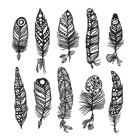 Boho feather hand drawn effect vector style illustration. Vector illustration of black boho feather. Boho indian feathers Vektoros illusztráció