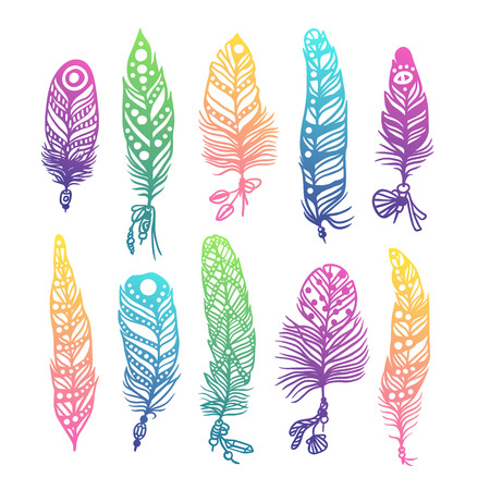 Boho plume illustration main style vecteur effet dessiné. Vector illustration de la couleur boho plume. plumes indiennes Boho Banque d'images - 51825355