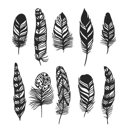 Boho de la pluma a mano ilustración dibujada efecto estilo del vector. Ilustración del vector de la pluma boho negro. plumas de indio Boho Ilustración de vector