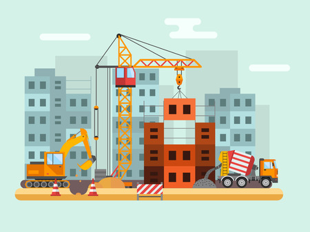 construction project: Building under construction, workers and construction technical vector illustration. Building mixer truck, crane vector. Under construction concept. Workers in helmet, construction machine isolated