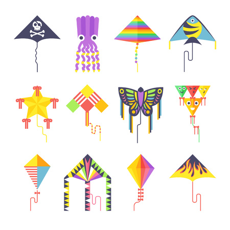 kite: Flying kite vector collection Isolated on a white background. Kids kates flat vector style. Vector kite Illustration