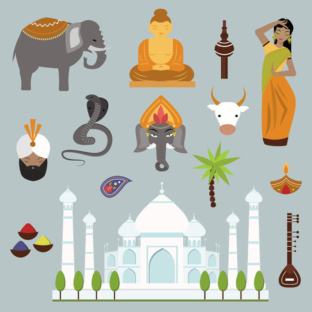 india culture: India landmark travel vector icons collection. Indian culture sign design elements. India travel time vector illustration