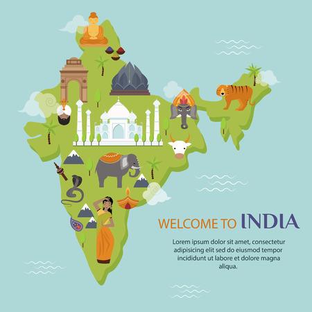 インド ランドマーク旅行地図ベクトル イラスト。インドの文化の記号のデザイン要素。インド旅行時間のベクトル図