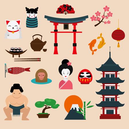 Japan landmark travel vector icons collection. Japan culture sign design elements. Japan travel time vector illustration