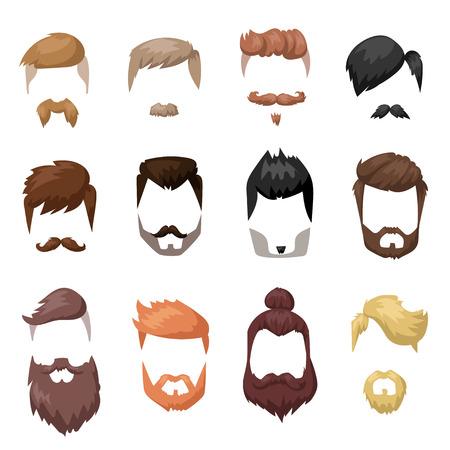 수염과 머리 얼굴 컷 마스크 평면 만화 컬렉션 헤어 스타일. 벡터 메일 수염 머리 그림입니다. 플랫 머리와 수염 패션 스타일