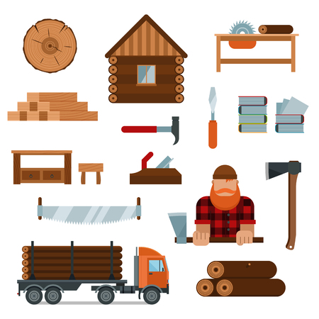 cutting tools: Lumberjack cartoon character with lumberjack tools icons vector illustration. Lumberjack isolated on white background. Lumber axe, wood truck, woodcutter