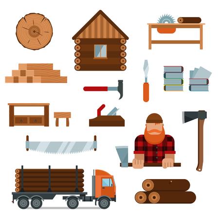 herramientas de carpinteria: personaje de dibujos animados con herramientas de leñador leñador iconos ilustración vectorial. Leñador aislada en el fondo blanco. hacha de madera de construcción, camiones de madera, leñador Vectores