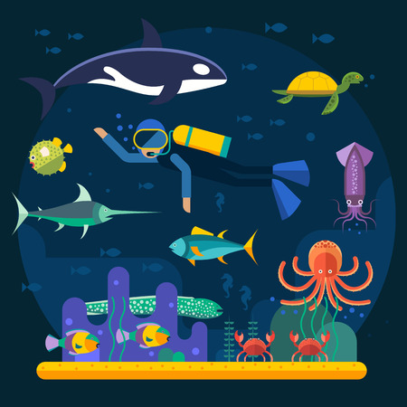 Scuba diving with fishes and coral reef vector illustration. Diver and fishes vector illustration. Diving travel poster. Vacation time, activity diving man and travel concept