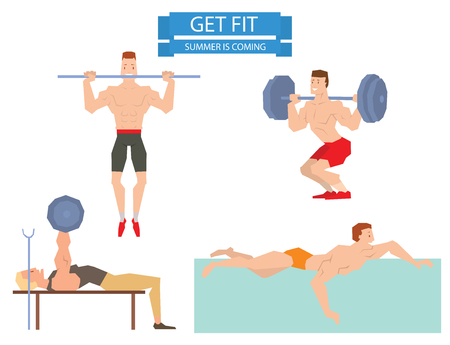 group fitness: Cartoon sport gym man group exercise on fitness ball. Sport gym fitness people isolated on white background. Gym people, sport activity