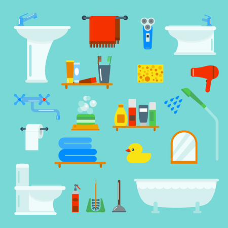 luxury homes: Bathroom and toilet flat style vector icons isolated on background. Bathroom  tools and sign vector illustration. Bathroom icons