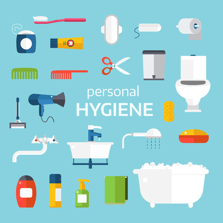 personal hygiene: Hygiene icons vector set isolated on white background. Face and skin cleaning, toilet hygiene vector icons illustration. Hygiene toolls sign and symbols