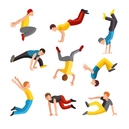 outdoor exercise: Parkour tricks extreme sport people vector silhouette. City sport parkour human pose. Parkour flat vector people jump, fall and run tricks