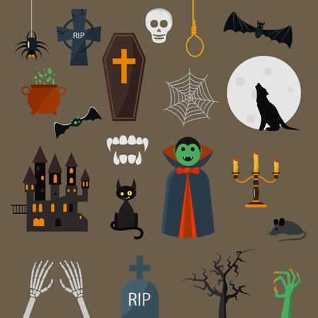 brujas caricatura: Drácula iconos conjunto de vectores. Drácula carácter vampiro elementos de diseño de dibujos animados. Drácula ilustración vectorial de vampiro. Mano del zombi. gato negro, castillo Vectores