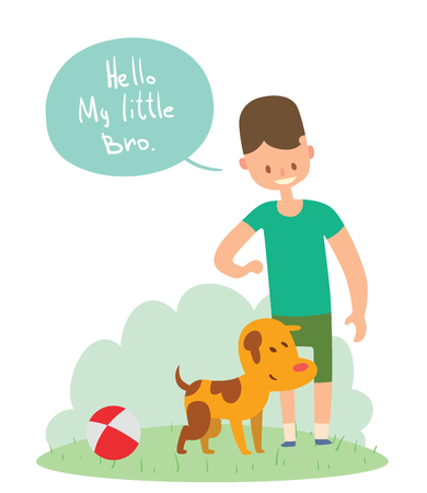 little dog: Boy and dog friends vector illustration. Friendship concept vector. Boy and his dog walking together. Young boy and dog pet vector