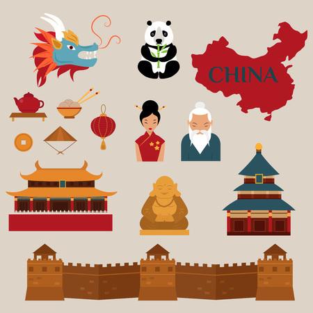 Reis naar China vector iconen illustratie. Chinese architectuur, Chinees eten en traditionele kostuums. Reis naar China ontwerpelementen voor infographic Stock Illustratie
