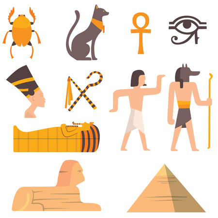 ruins is ancient: Egypt travel vector icons. Egypt symbols. Travel to Egypt infographic design elements vector illustration cartoon style. Pharaohs, egypt cat, pyramid and head